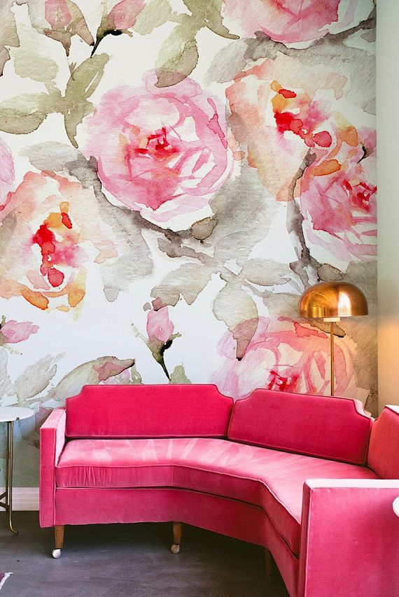 Large Floral Pattern Wallpaper Flower Wall Mural Home Decor Decorations Decal Removable Paper B005
