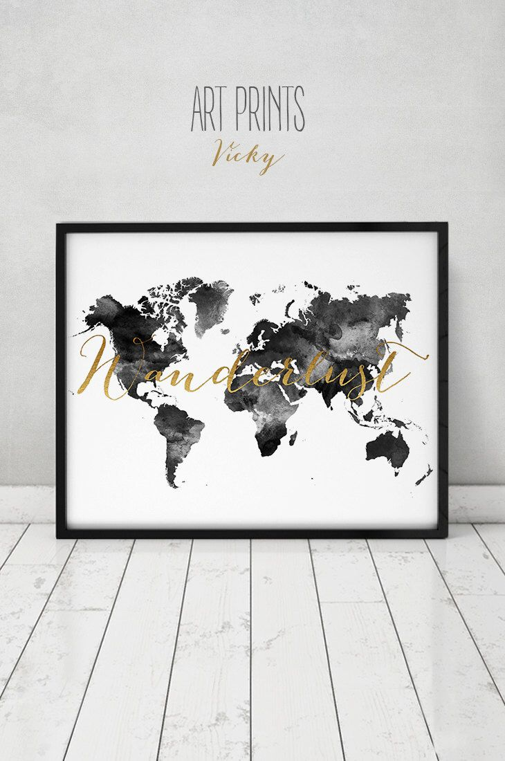 Wanderlust map world map poster large world map world map wall wanderlust world map watercolor print world map poster travel map black white with faux gold text wedding guest book artprintsvicky by gumiabroncs Gallery