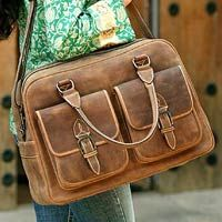 Novica Leather travel bag, World Traveler - Antiqued Leather Travel Bag from Mexico