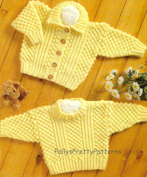 PDF Knitting Pattern for Aran Cardigan & Sweater to fit Chest | bebé ...