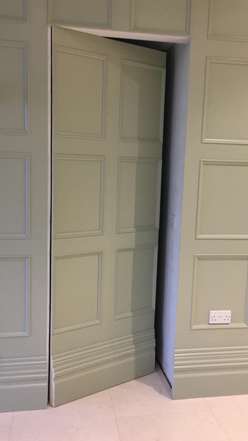 Beaded Wall Panelling With Special Secret Panelled Door Coving Architraves Skirting And Matching Archway Hidden Doors In Walls Hidden Rooms Secret Walls
