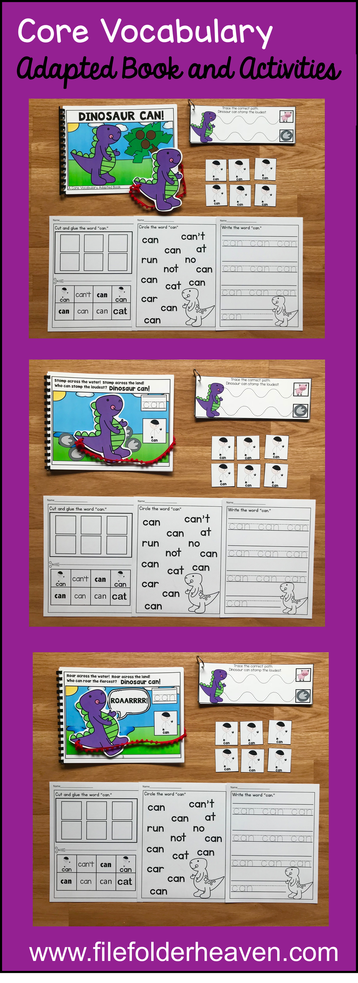 This Core Vocabulary Adapted Book Dinosaur Can Is A