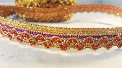 1.5cm Stunning multi-coloured lace trim for designing arts crafts DIY 1 metre