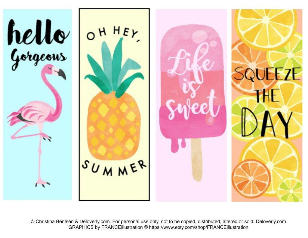 Five Free Summer Printables Blog Launch Free Printable Bookmarks