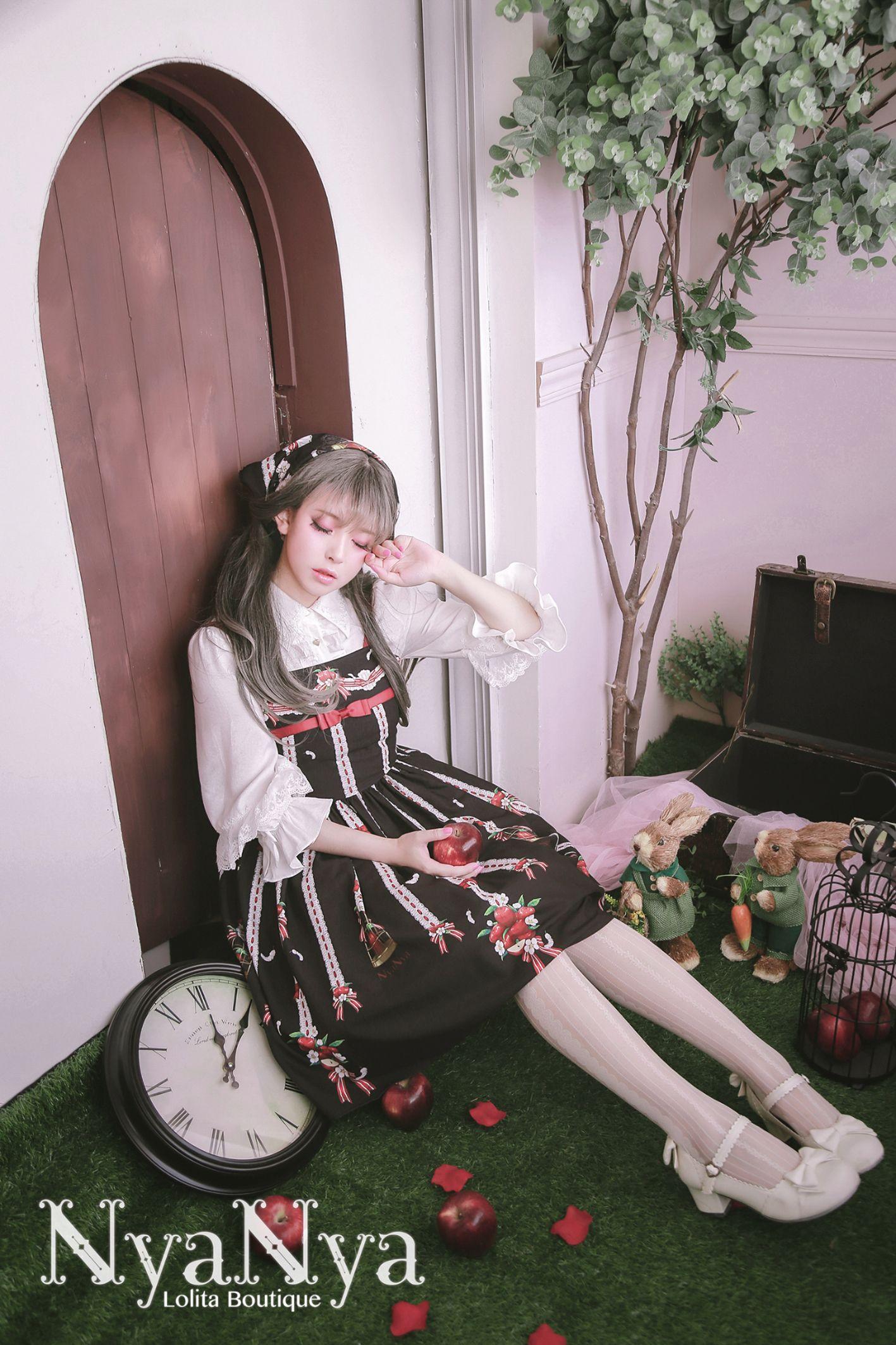 【现货】+NyaNya+白羽林檎+原创Lolita定位花吊带正常腰JSK-淘宝网全球站