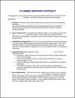 Contract For Services Agreement  Sample Janitorial Contract