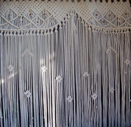 Cortina de ventana cortinaje hilos polipropileno macramé ...