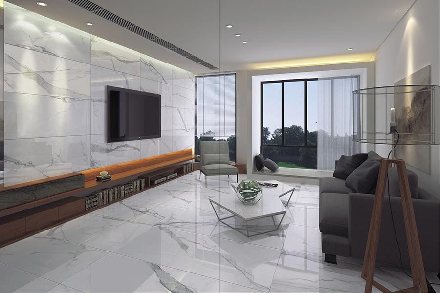 Beautiful Marble Effect Ultra Thin Porcelain Tiles Used As A Living Room Floor In Stylish Property