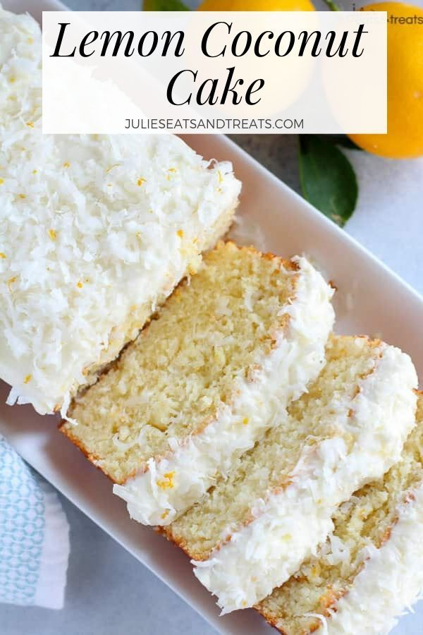 This Lemon Cake recipe is topped with homemade cream cheese frosting and coconut! If you are lookin