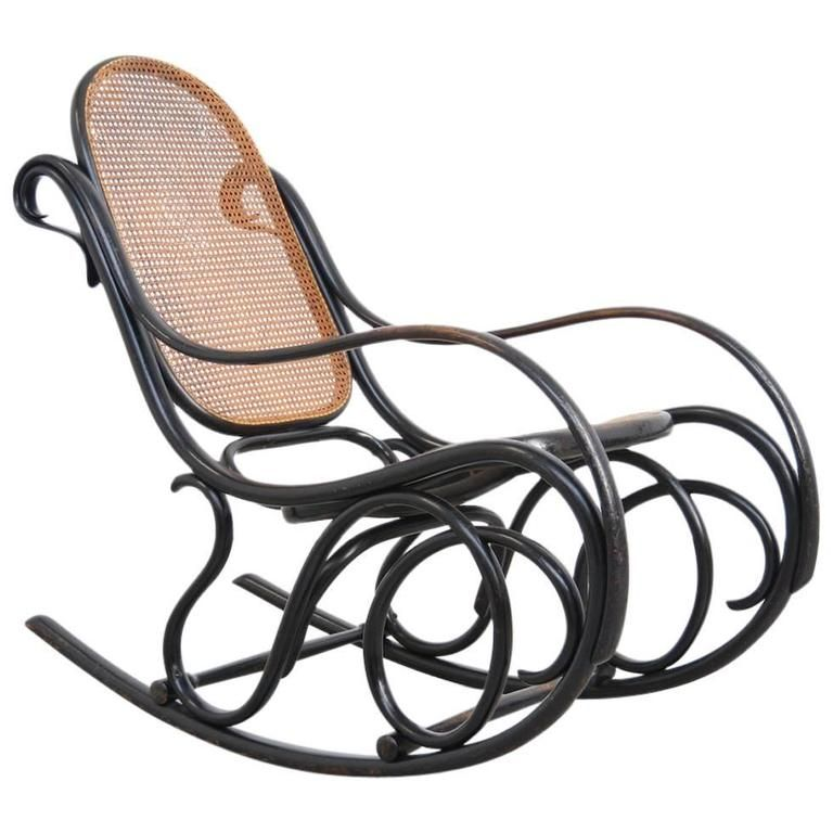 Old Original Rocking Chair by Michael Thonet for Gebruder Thonet 1
