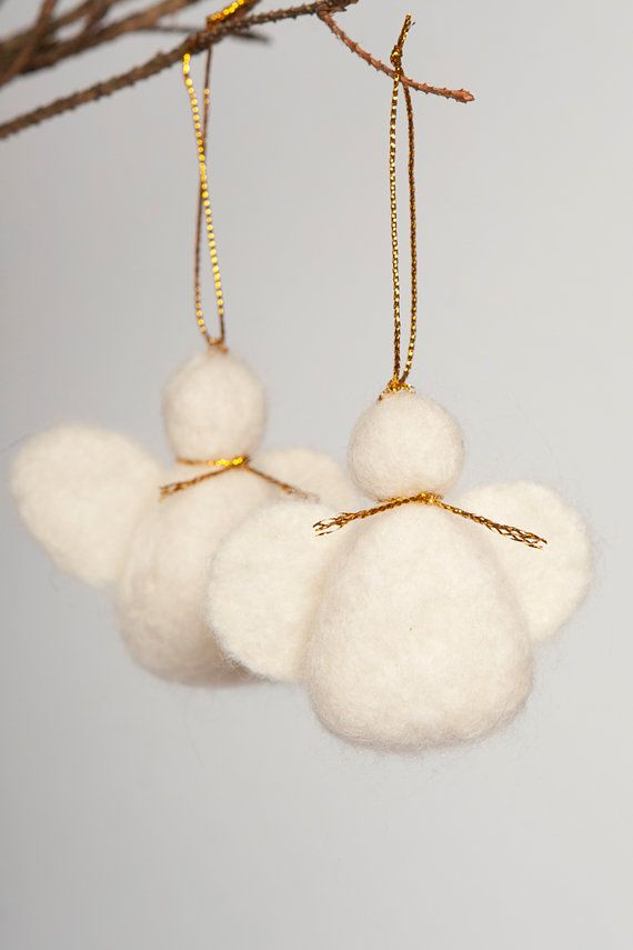 FREE SHIPPING Set of Two White  Wool Needle Felted Wedding Christmas Angels Sculpture Decor Christmas Tree Valentines Day Present Decoration on Etsy, $20.00