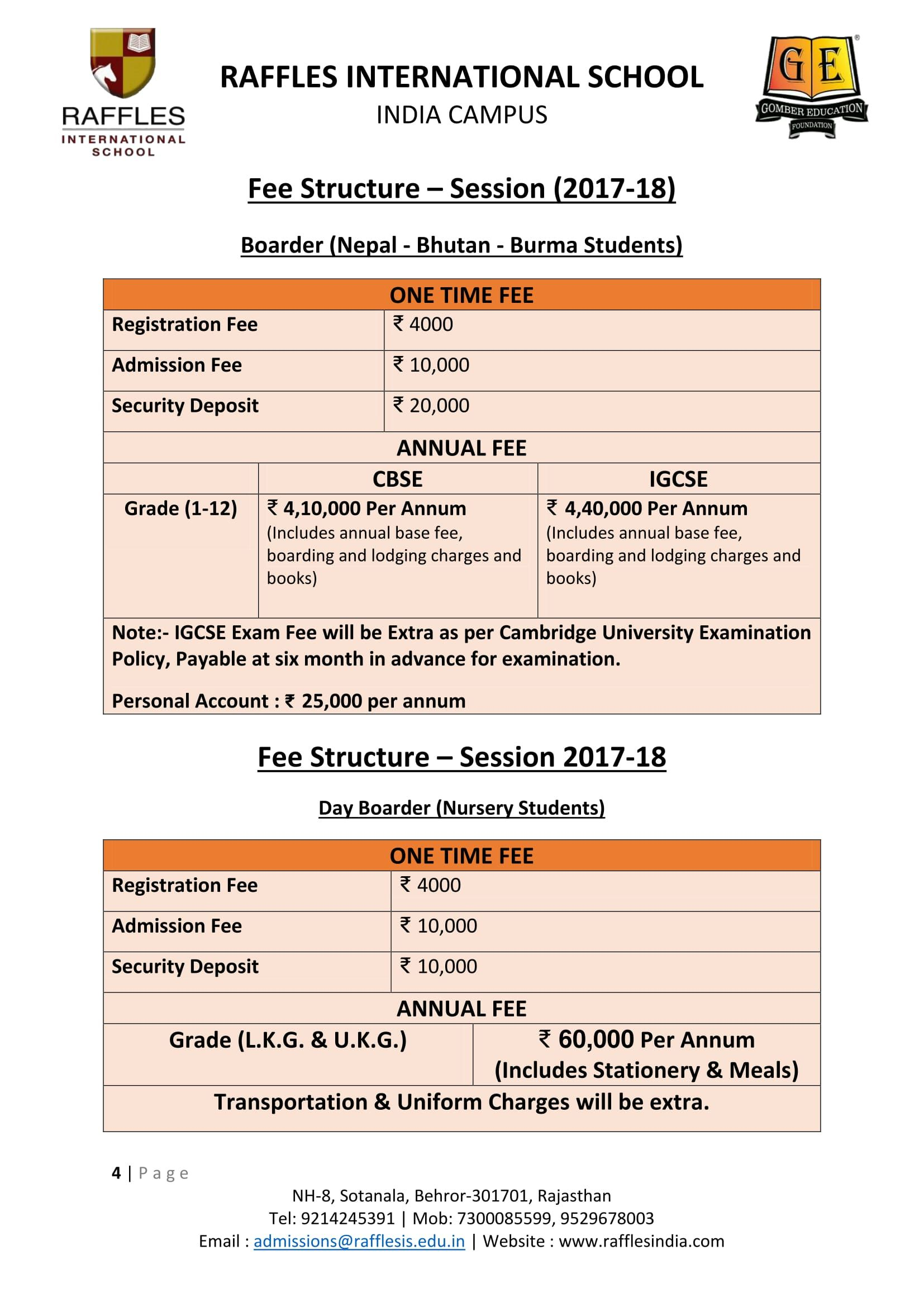 Fee structure for boarding students of nepal bhutan and burma from fee structure for boarding students of nepal bhutan and burma from class 3rd to 12th for session 2017 18 fandeluxe Gallery
