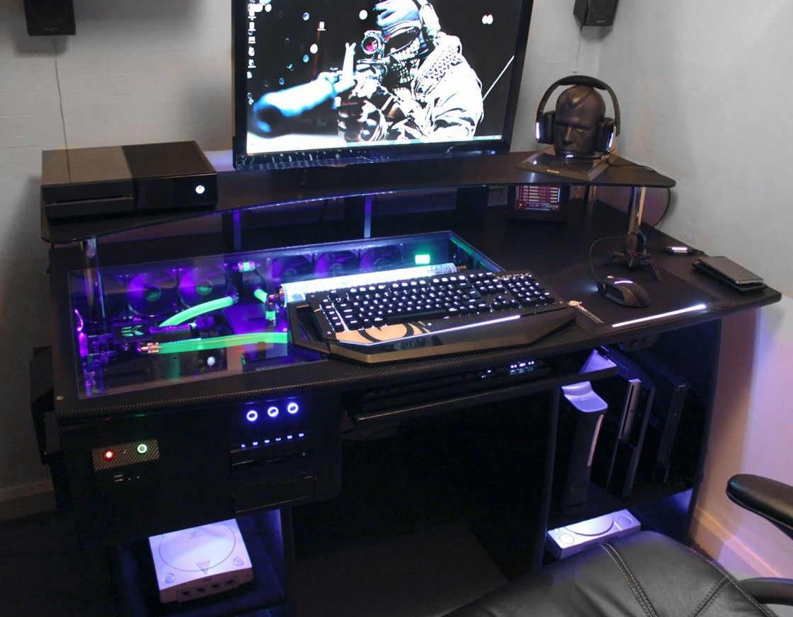 Fascinating Gaming Pc Costum Desk With Glass Top And Shelf Above