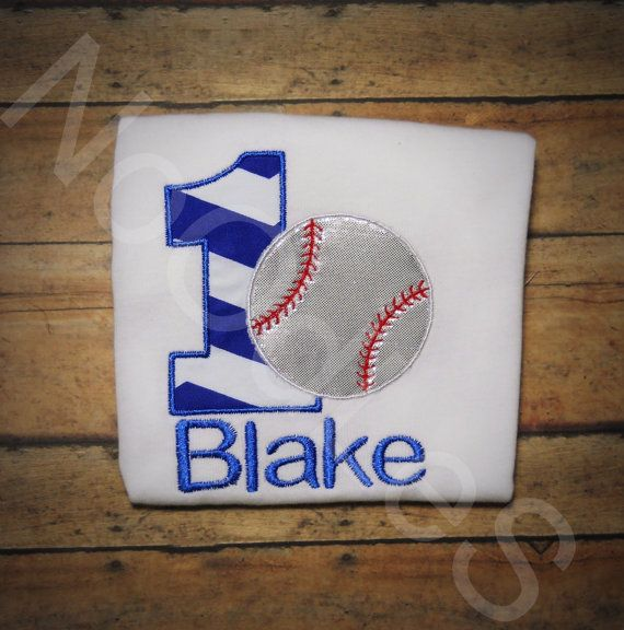 Baseball Themed Birthday Embroidered Shirt by NoOdLeSBoutique, $15.00