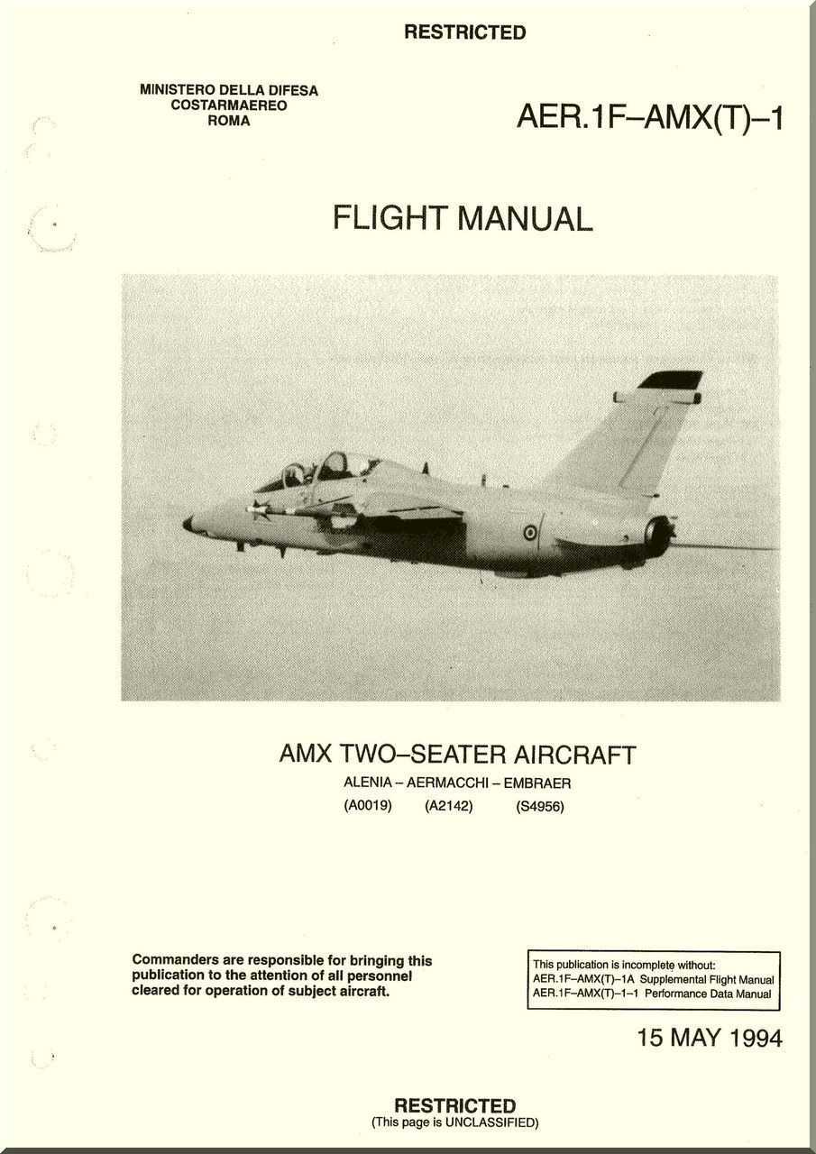 Aerritalia Aermacchi Embraer AMX Two Seater Aircraft Flight Manual, (  English Language ) AER. 1F-AMX(T) -1 - Aircraft Reports - Aircraft Manuals  - Aircraft ...