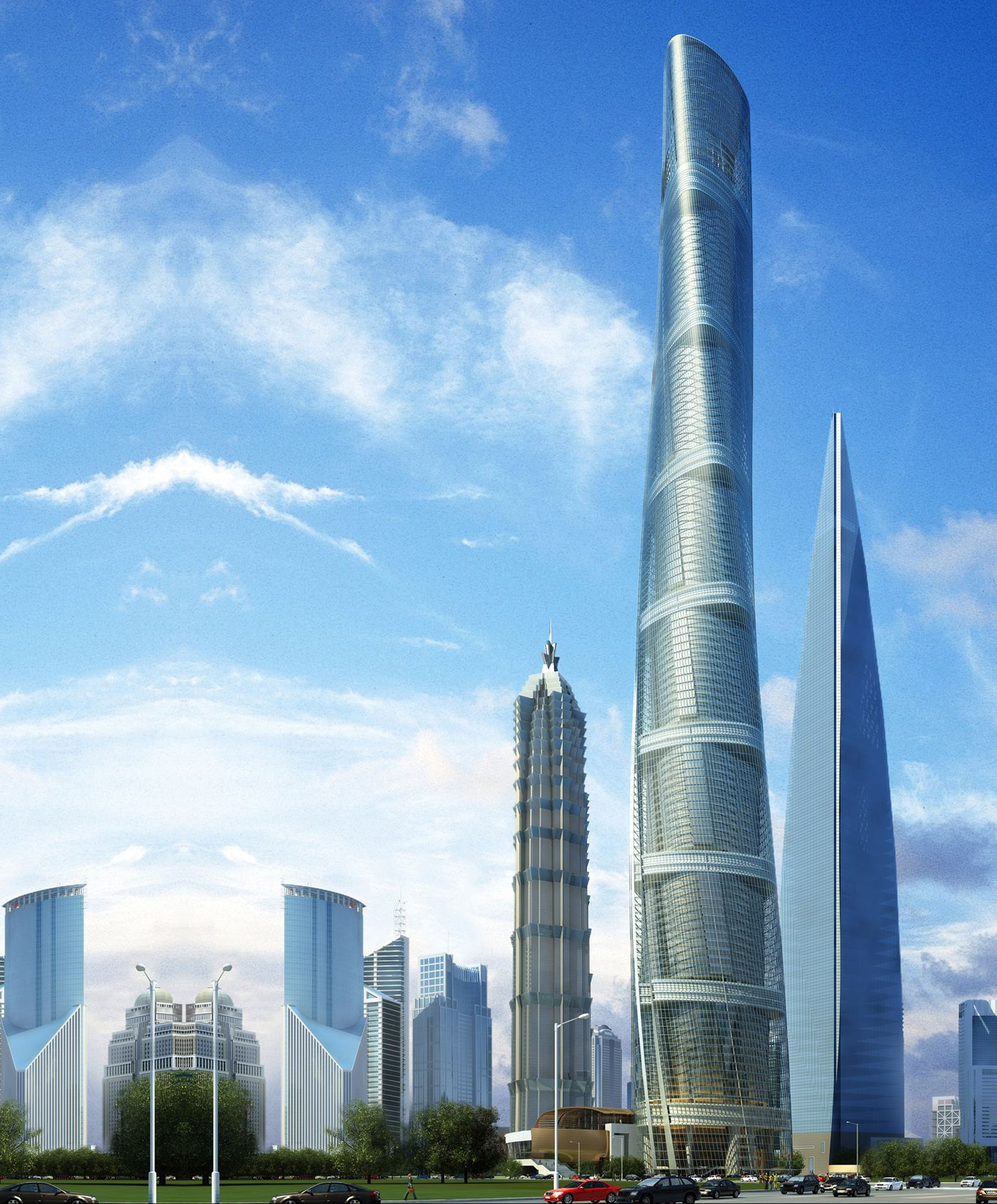 Shanghai Tower China By Designer Gensler Is Still Under Construction In The Pudong District Of