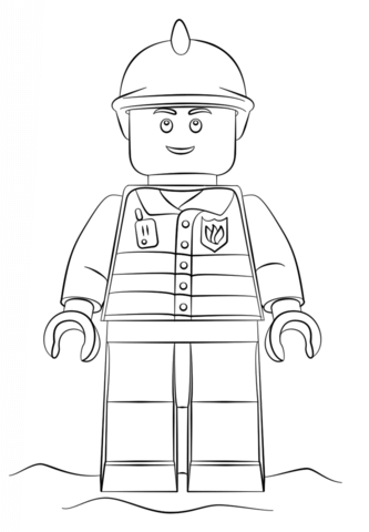 Lego Fireman Coloring Page