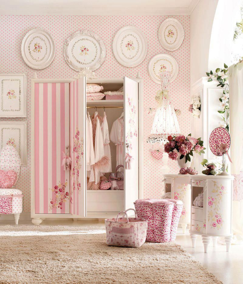 Shabby Chic Decor for a baby girl... Love the stripes mixed in with ...