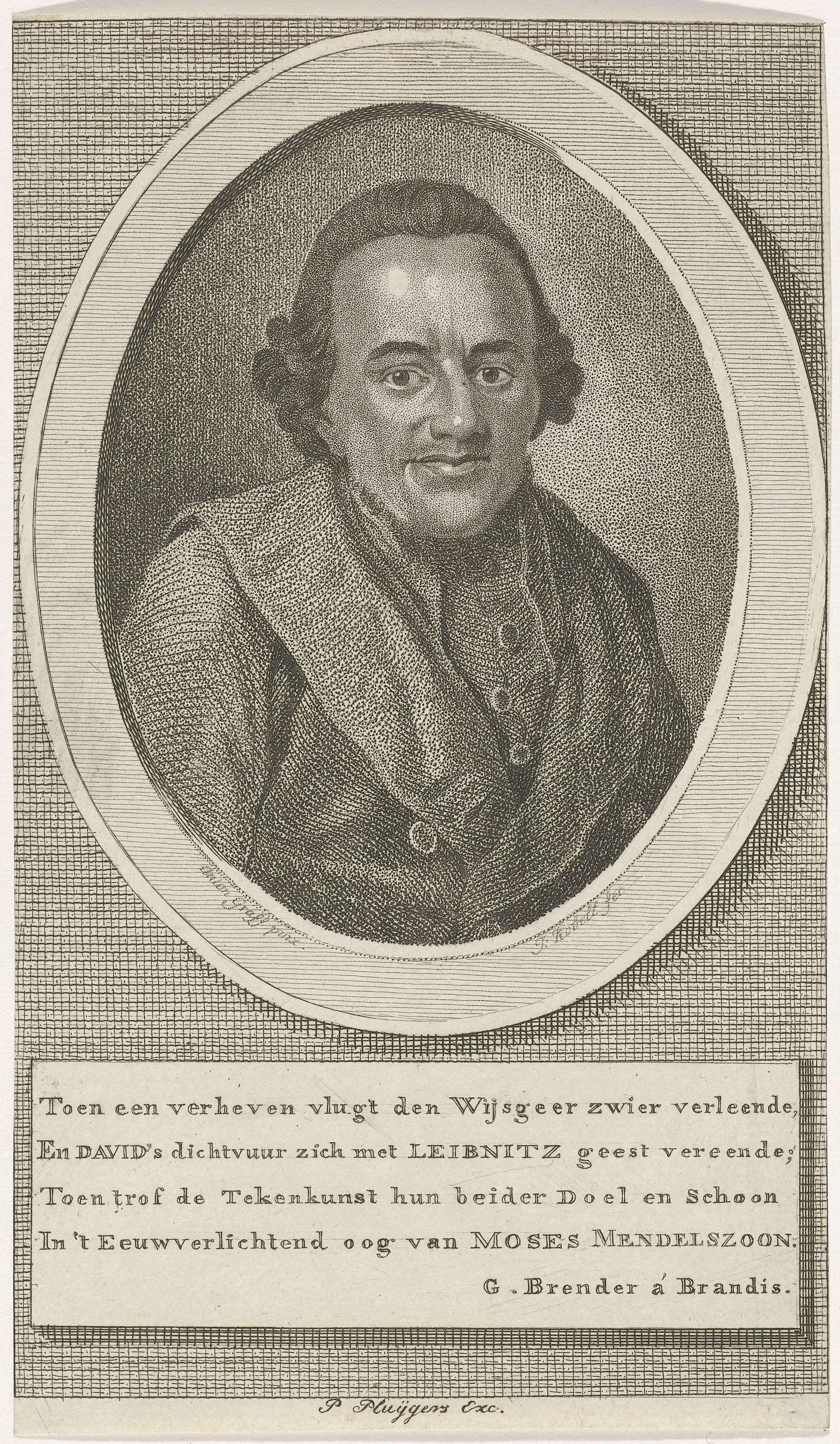 Jan Kobell (I) | Portret van Moses Mendelssohn, Jan Kobell (I), Brender à Brandis, P. Huijgers, 1766 - 1833 | Portretbuste van de filosoof en zijdekoopman Moses Mendelssohn. Onder de afbeelding een vierregelig vers in het Nederlands.