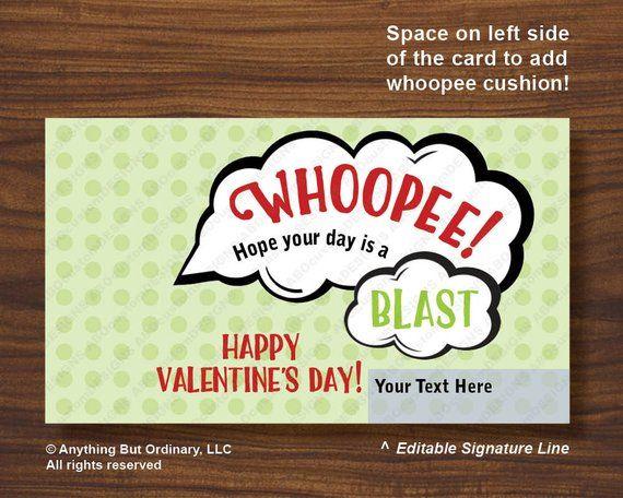 Whoopee Cushion Valentines Printable Whoopie Cushion Holder