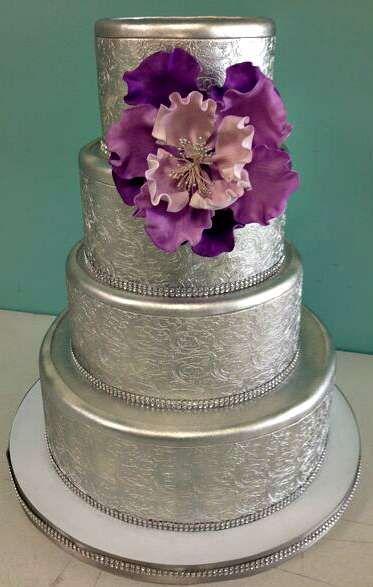Silver Wedding Cake Layered Flower Print Purple Rhinestone Jewels Round