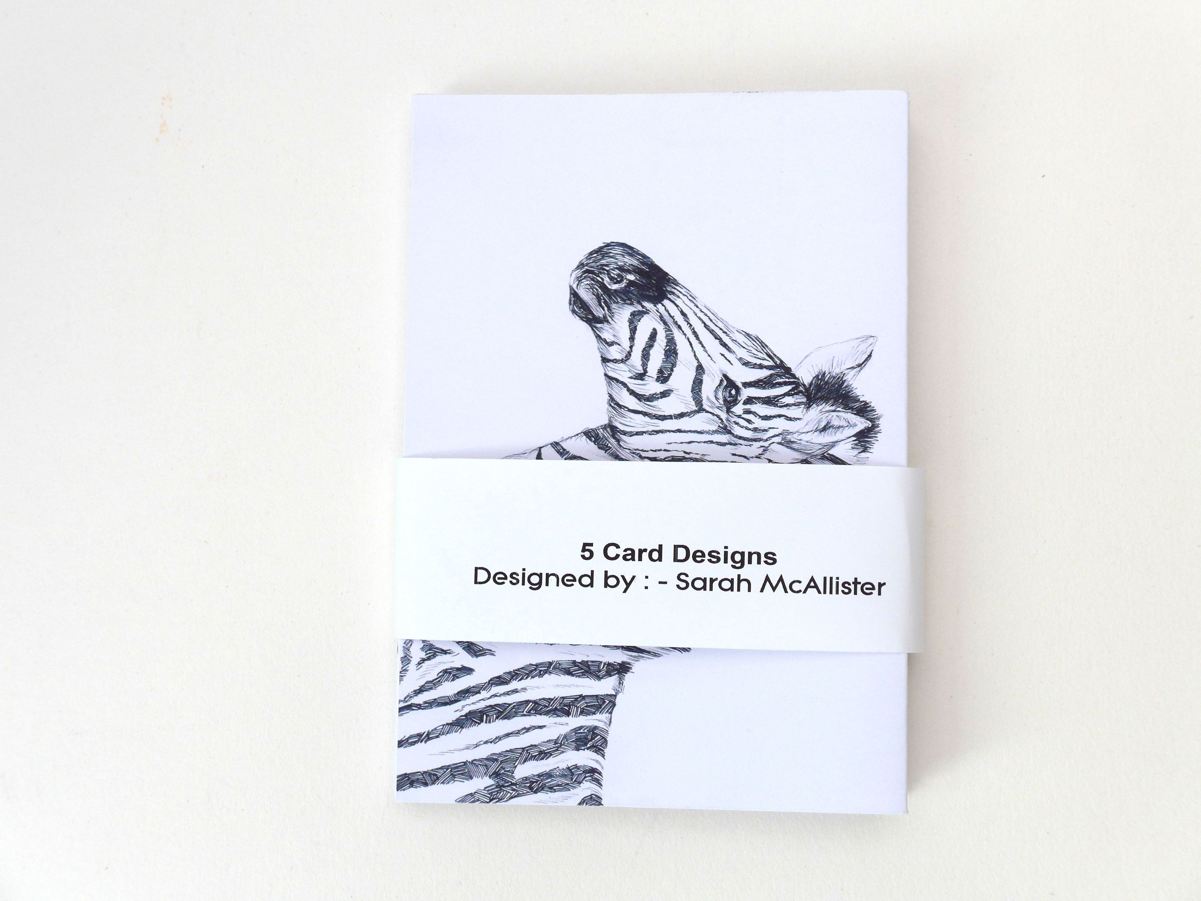 Set Of 5 Zebra Greeting Cards Work For Sale By Sarah Mcallister