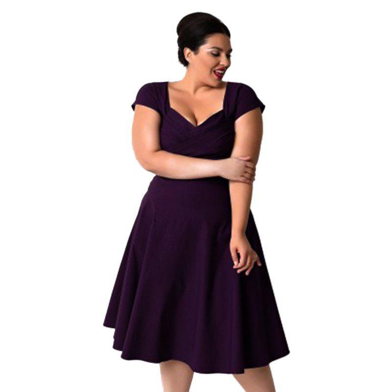 Lato kobiety casual dress plus rozmiar elegancki vintage stałe