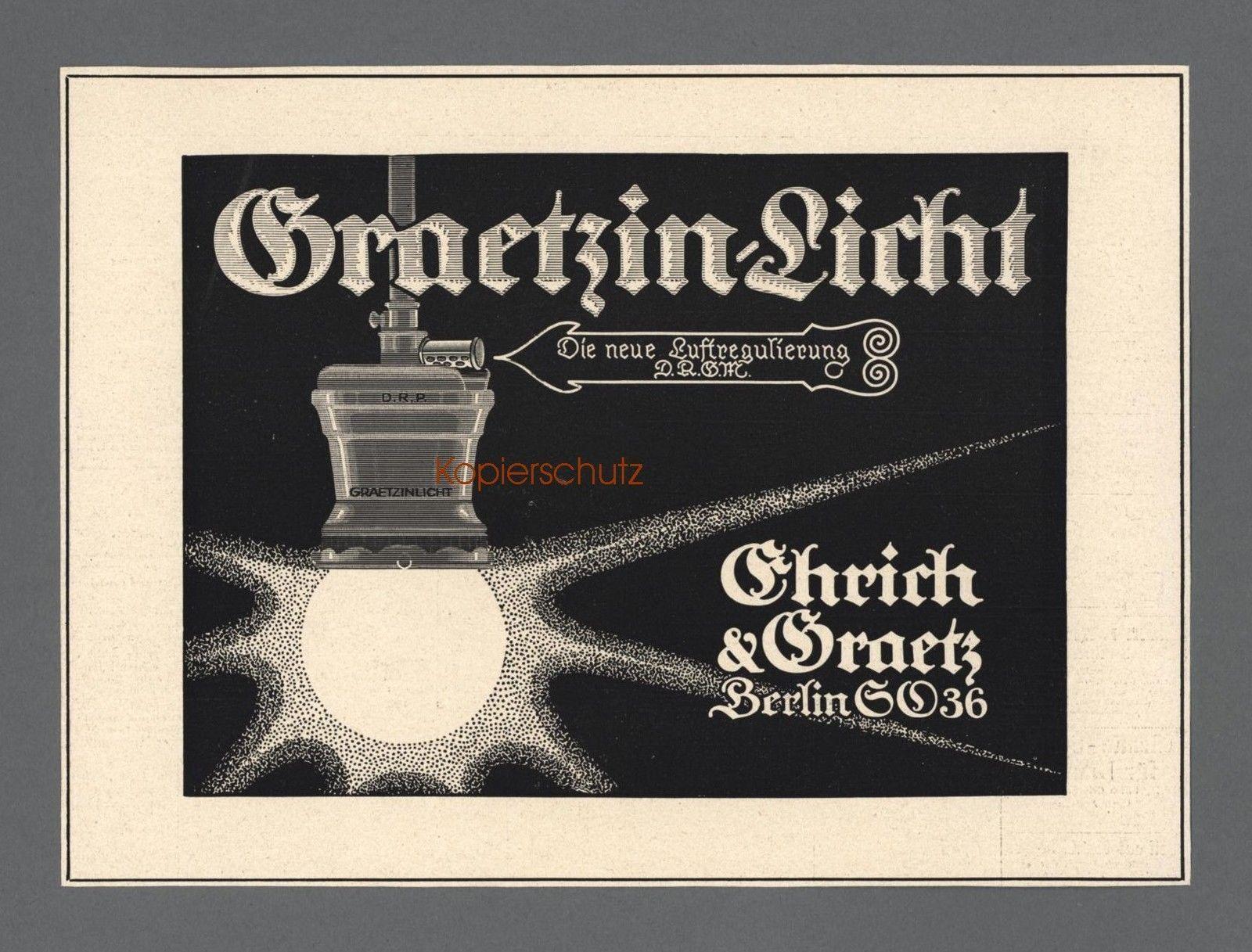 Graetzin Licht Ehrich Graetz Berlin Beleuchtung Reklame Werbung 1918