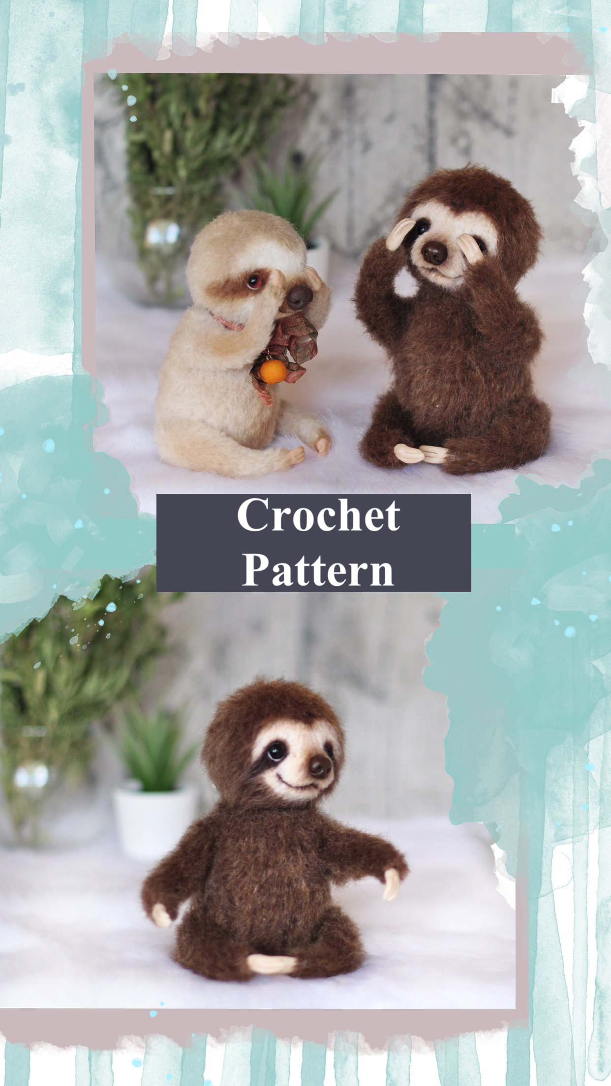 Crochet Pattern Sloth Stuffed animal pattern Amigurumi