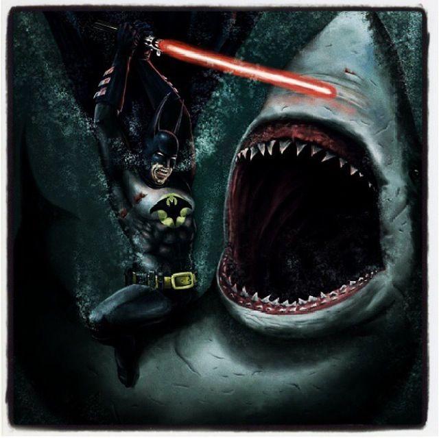 Funny batman fighting shark