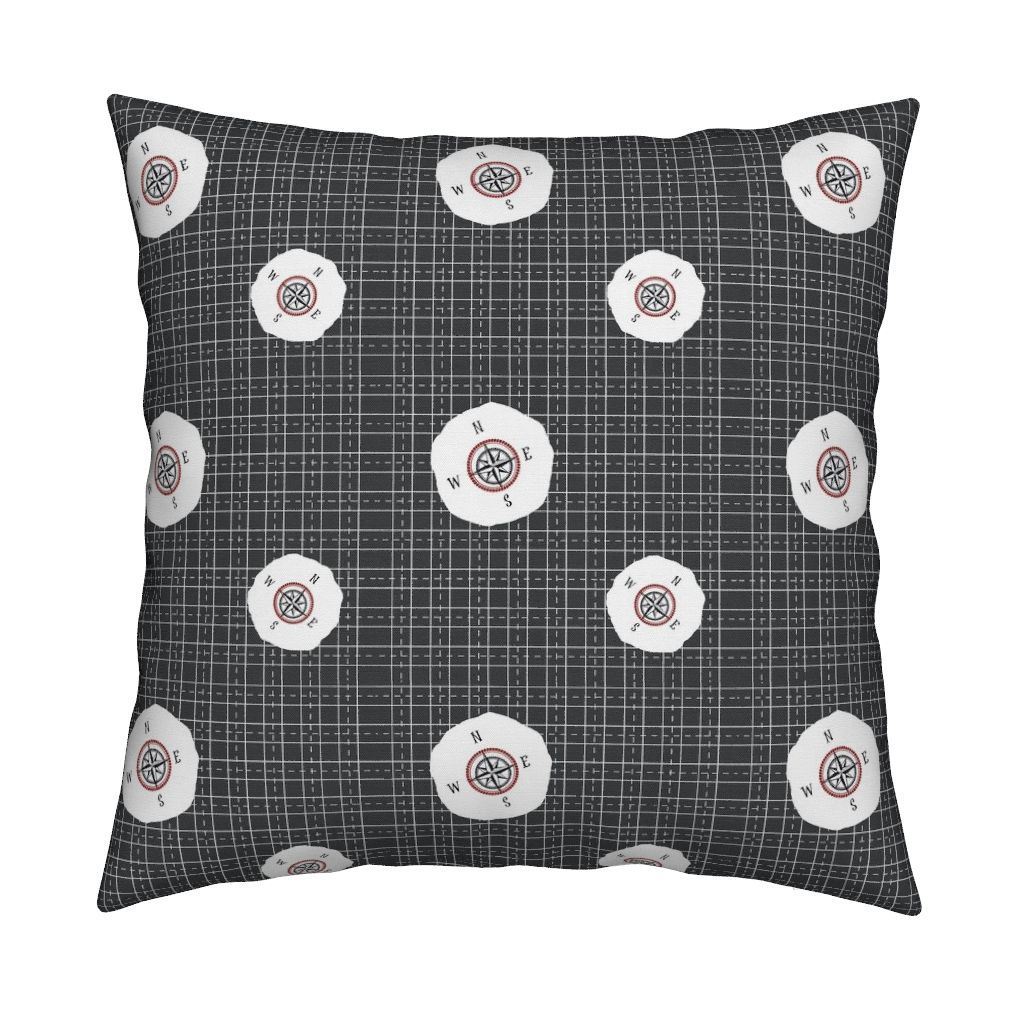 Catalan throw pillow featuring compass grid charcoal by