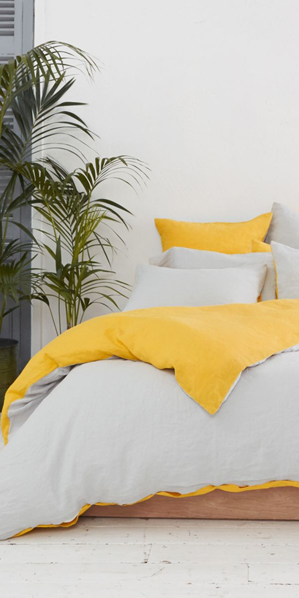 The Eve Linen Bedding In Cloud Grey Eve Yellow Stonewashed For Superior Softness And Comfort Our Pure Lin Bed Linens Luxury Bed Linen Design Yellow Bedding