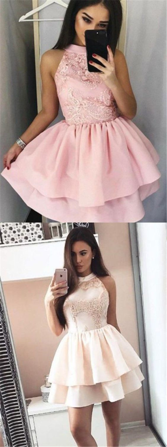 b0f56503720878 A-Line Jewel Short Pink Tiered Satin Homecoming Dress with Appliques Prom  Dresses 2018