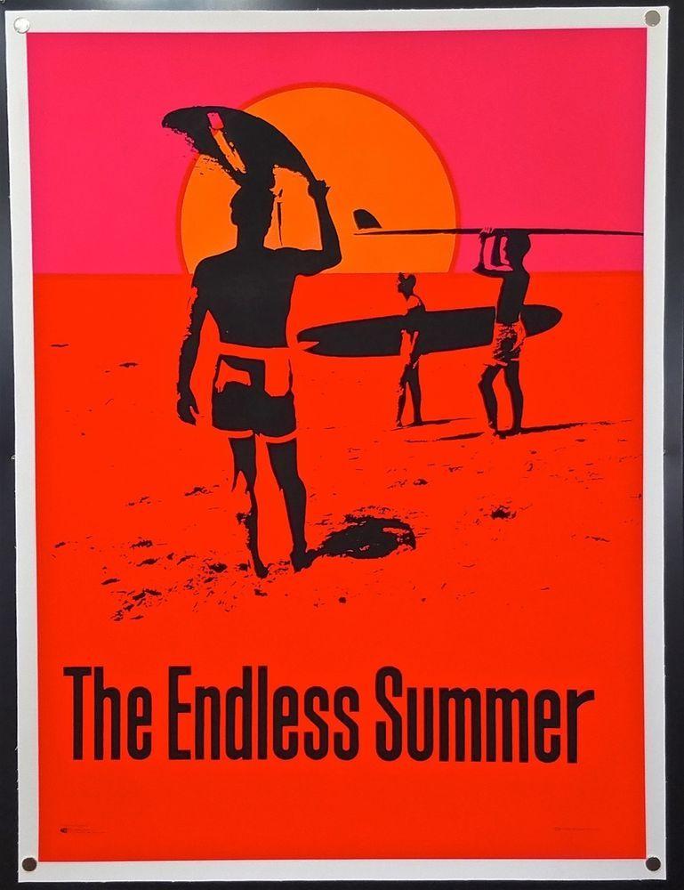 The Endless Summer 1966 Original Silkscreen Day Glo Poster Surfing