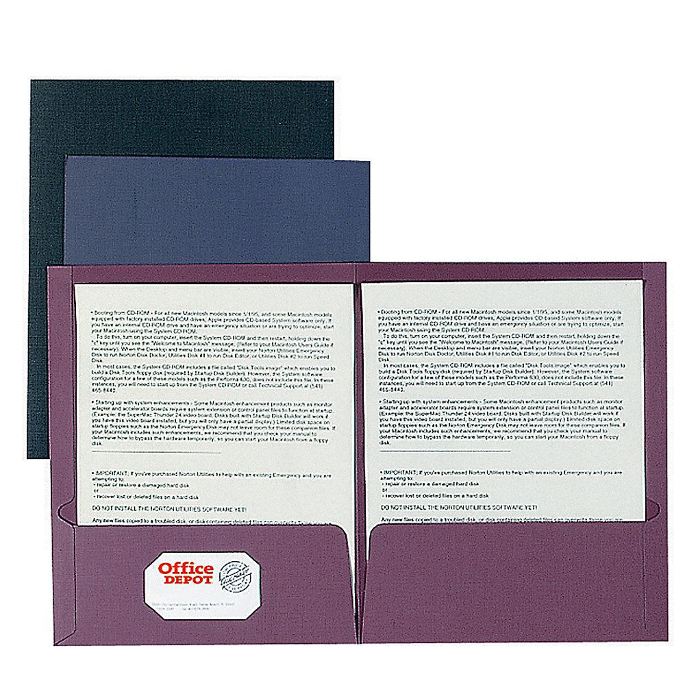 Oxford Linen Like Twin Pocket Portfolios 40 Recycled Black Office Depot