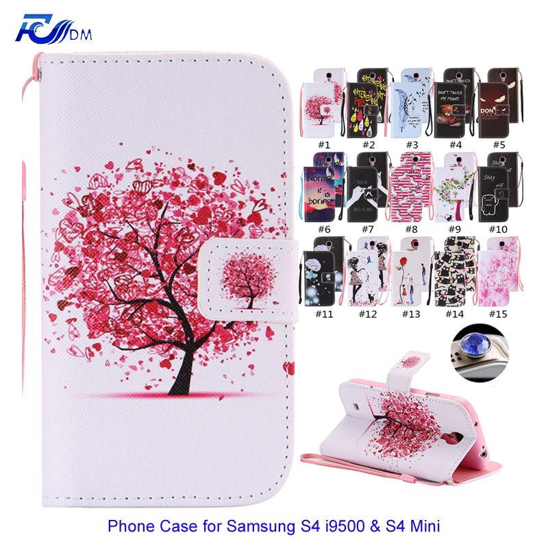 FDM Stand Flip Cover for Galaxy S4 Mini / S4 i9500 Leather Wallet Case for Samsung Galaxy i9500 S4 Mini Coque Silicone Shell