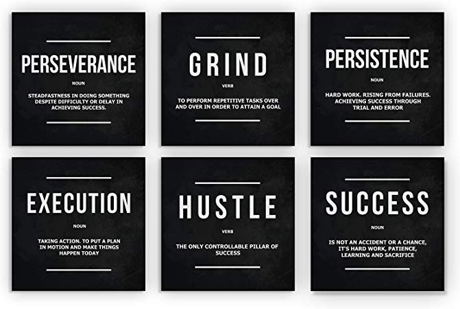 Amazon Com 6x Motivational Wall Art Office Decor Canvas Prints Grind Hustle Success Execution Persis Motivational Wall Art Office Decor Wall Art Canvas Prints
