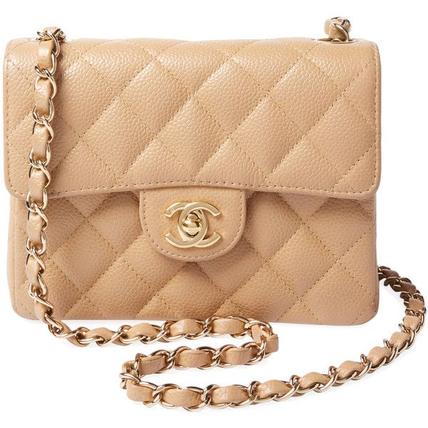 Chanel Vintage Beige Quilted Caviar Classic Flap Mini Square Brown 3 400 Liked On Polyvore Fe Chanel Mini Square Chanel Mini Bag Vintage Leather Handbag