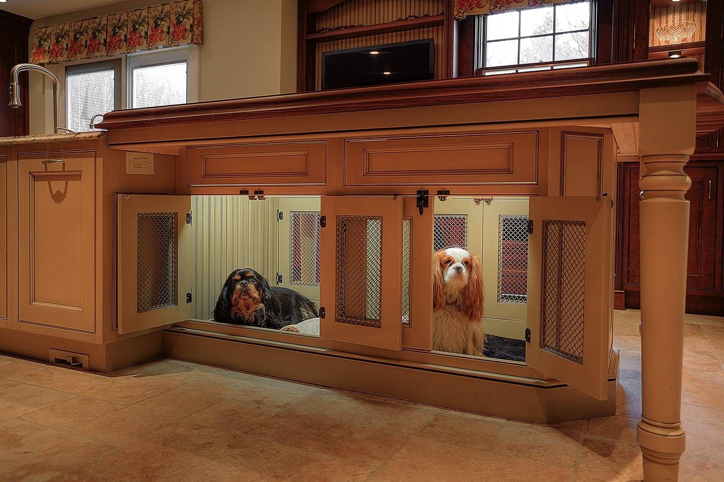 Built In Cabinet Dog Crate Dog Kennel Cabinetry Dog