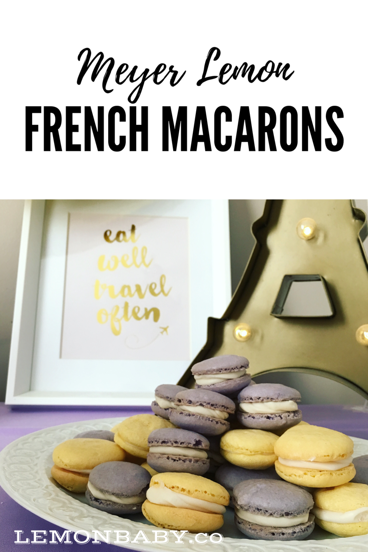 Meyer lemon French macarons purple yellow First Birthday