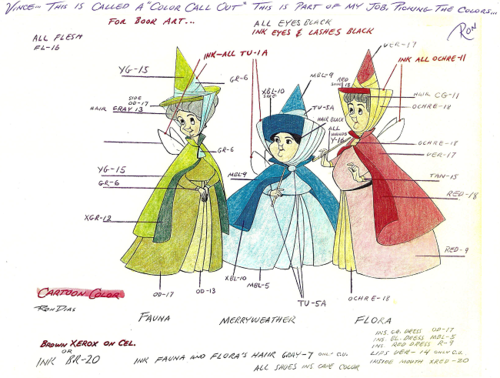 Flora Fauna And Merryweather Colour Keys For Sleeping Beauty