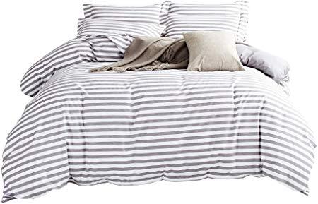 Amazon Com Delboutree Duvet Cover Set Striped Duvet Cover