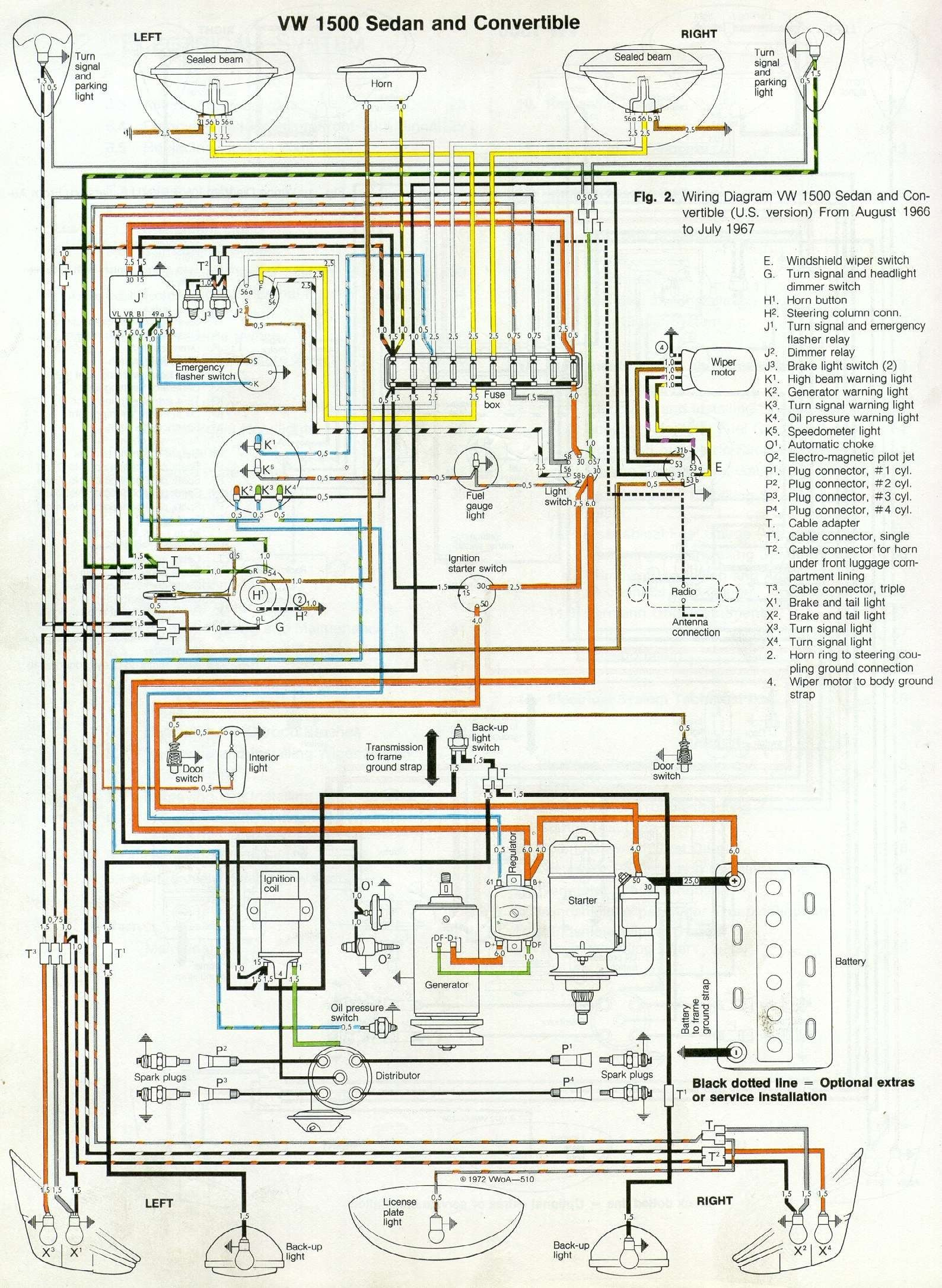 66 and 67 vw beetle wiring diagram vw beetles beetles and vw rh pinterest com VW Bug Coil Wiring VW Bug Starter Wiring