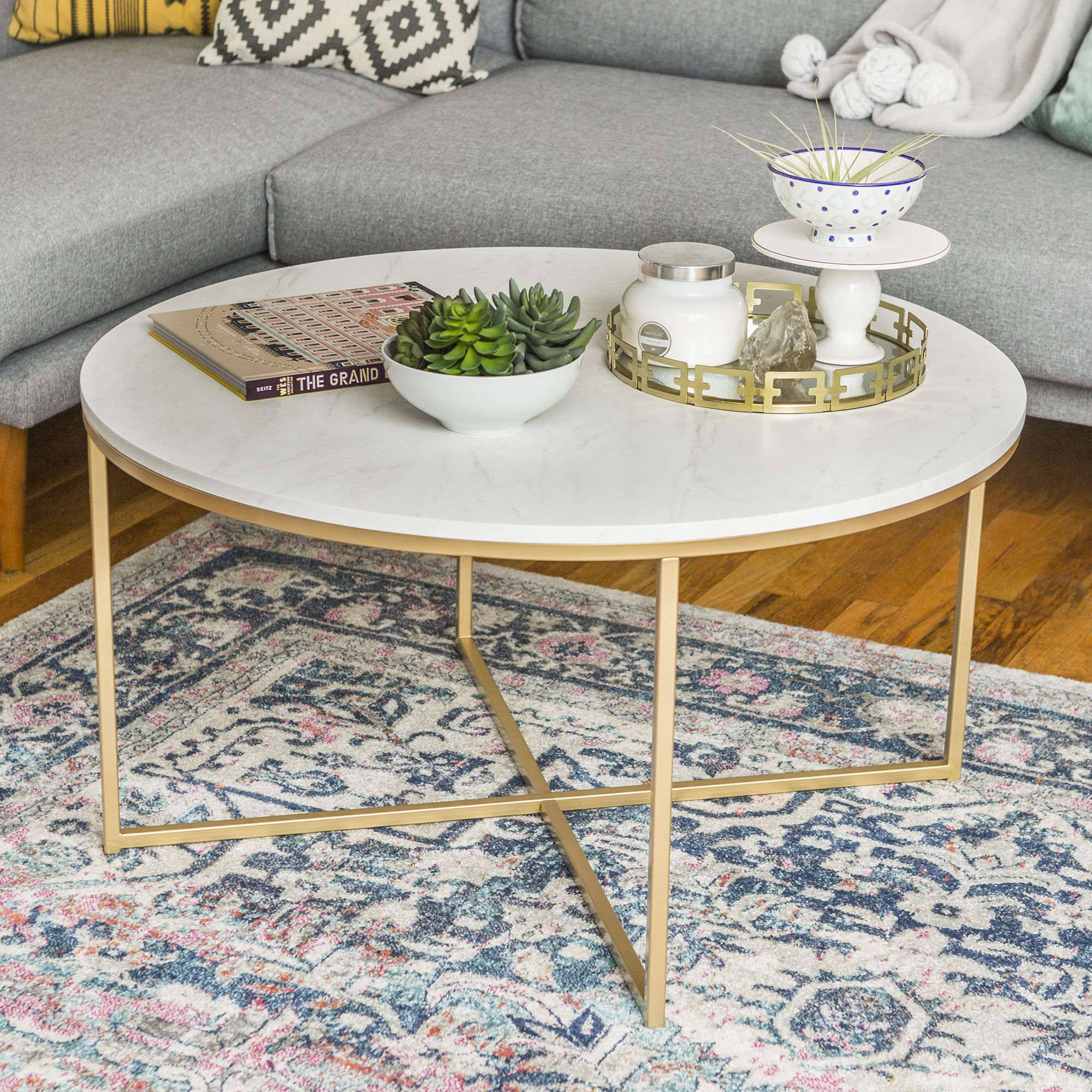 Modern 36 Inch Round With X Base Coffee Table White