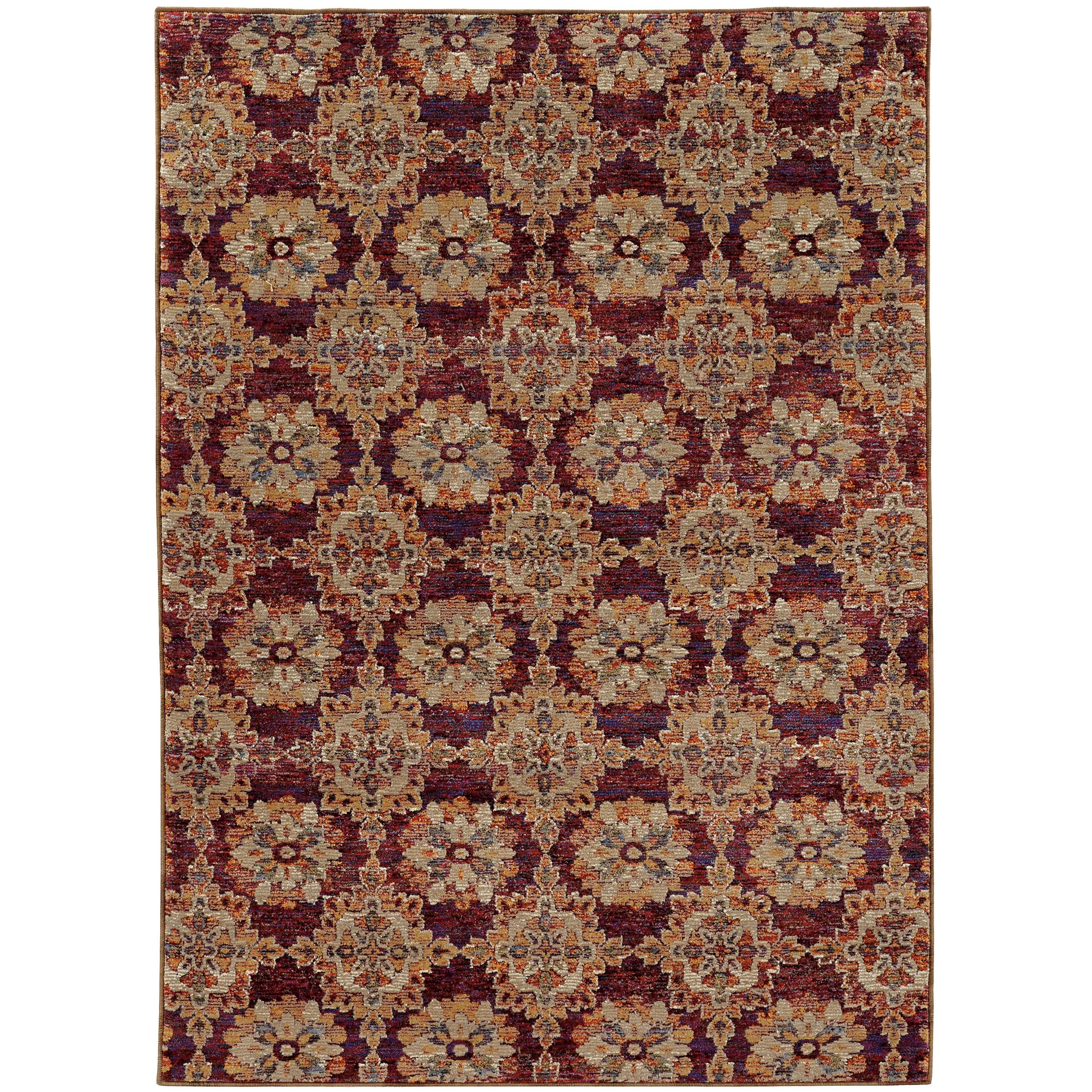"Style Haven Floral Panel Medallions Red/ Gold Rug (6' 7 x 9' 6) (6' 7"" X 9' 6""), Size 6'7 x 9'6 (Nylon, Oriental)"