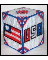 Patriotic USA Quilt Tissue Box Cover