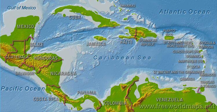 Caribbean Map Learn Spanish Pinterest Learn Spanish - Physical map of panama