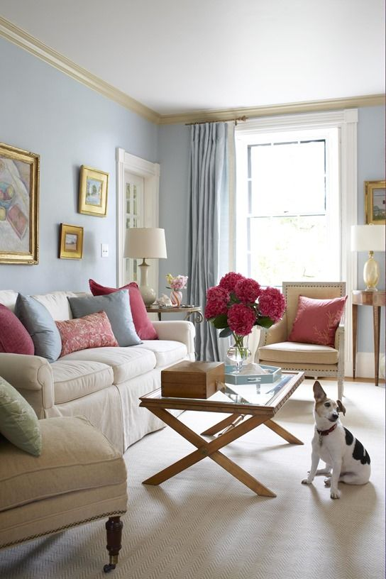 Living Rooms · Light Blue Walls. Inspiration From BHG.