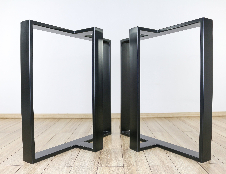 Metal Dining Table Legs Set Of 2 T Shape Steel Table Legs Etsy In 2021 Dining Table Legs Metal Dining Table Industrial Table Legs