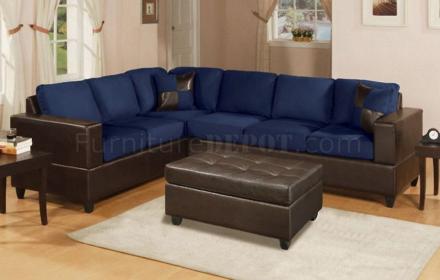 Pin by homysofa on Bedroom Sofa | Navy blue leather sofa, Blue ...